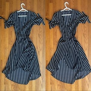 Dresses & Skirts - Black/white stripped wrap dress😍